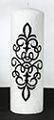 Black Scroll White Palm Wax Pillar Candle
