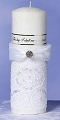 White Sequin Lace Palm Wax Pillar Candle