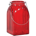 7.25 INCH RED GLASS WITH SILVER WIRE HANDLE (12PCS)