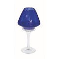 7.5 INCH CANDLE STAND W/COBALT SHADE (12PCS)